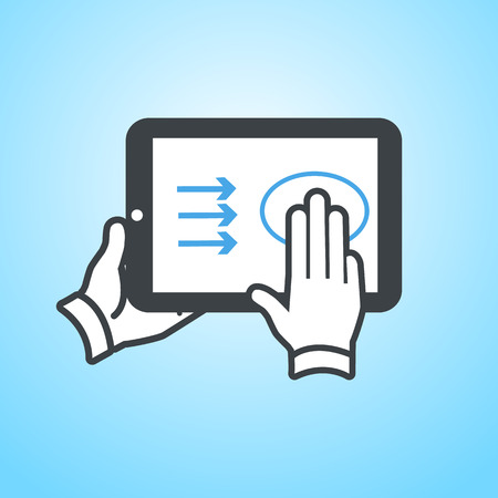 swipe: vector modern flat design tablet touch screen icon gesture swipe with three fingers on blue background