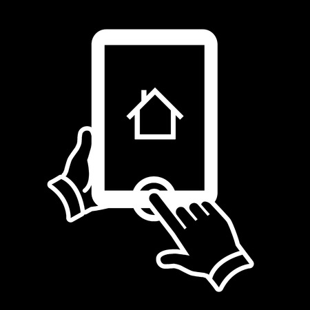 vector modern flat design tablet touch screen click on home button icon gesture with one finger white isolated on black background Vector
