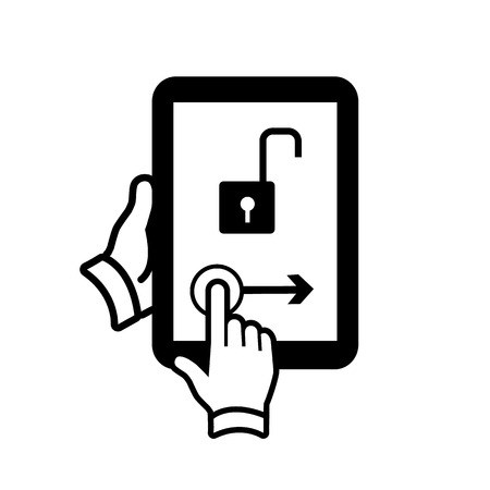 vector modern flat design tablet touch screen icon unlock gesture swipe with one finger black isolated on white background Vector