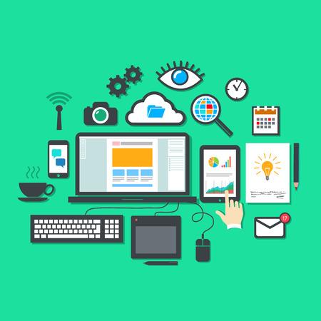 webdesigner: Vector flat design modern illustration icons set of webdesign and seo optimalization tools, webdesigner process and infographic elements isolated on stylish colored background Illustration