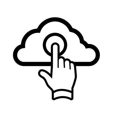 protected database: vector de la mano tocando el icono de la computaci�n en nube con un dedo | elment dise�o plano ui aisladas sobre fondo blanco