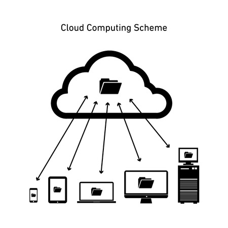 Vector abstract cloud computing scheme icon | flat design business infographics black on white background Vector