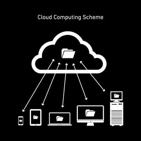 Vector abstract cloud computing scheme icon | flat design business infographics white on black background Vector