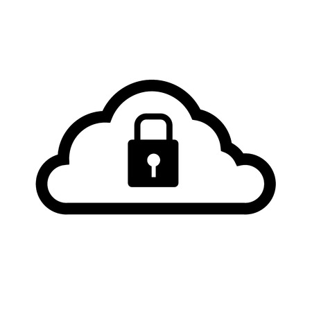 cloud computing lock icon | vector flat design element black isolated on white background