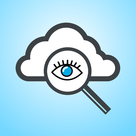 cloud computing searching icon with eye | vector flat design element on blue background Vector