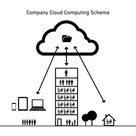 vector abstract company cloud computing scheme icon | flat design infographics black on white background Vector