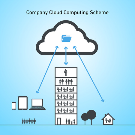 vector abstract company cloud computing scheme icon | flat design infographics black on blue background Vector