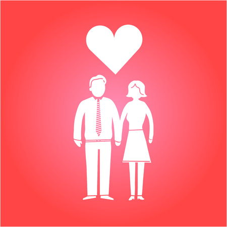 vector couple in love icon | flat design infographics white on red background Vector
