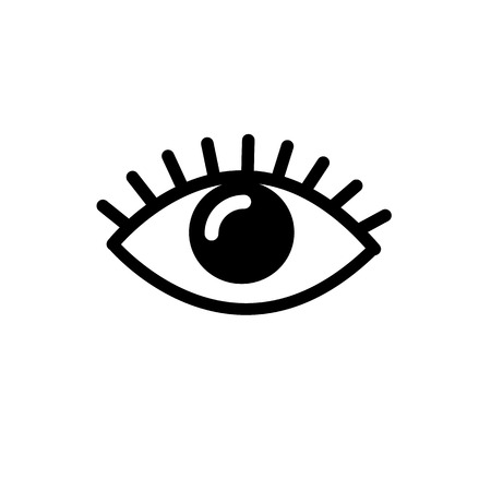 vector flat design eye icon | black pictogram on white background Vectores