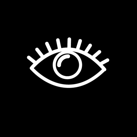 vector flat design eye icon | white pictogram on black background Vector