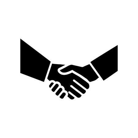 vector hand shake flat design icon | black pictogram on white background  Vectores