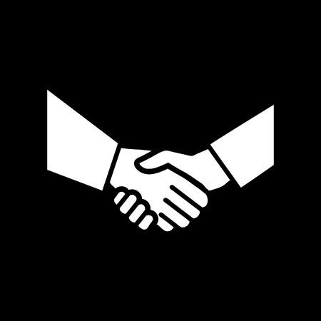 vector hand schudden platte design-icoon | wit pictogram op zwarte achtergrond