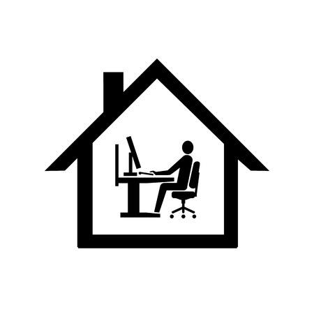 vector home office icon flat design infographic pictogram black on white background