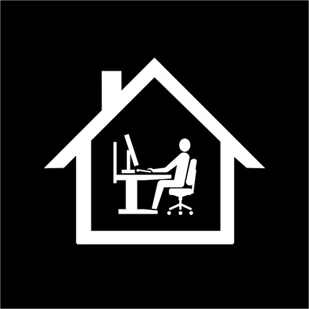 vector home office icon flat design infographic pictogram white on black background Vector