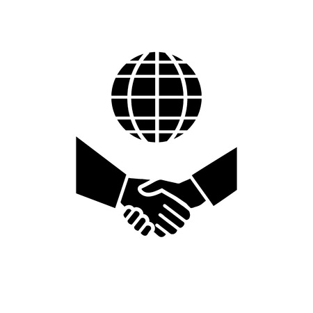 vector international business icon with gloe and hand shake | flat design black pictogram on white background
