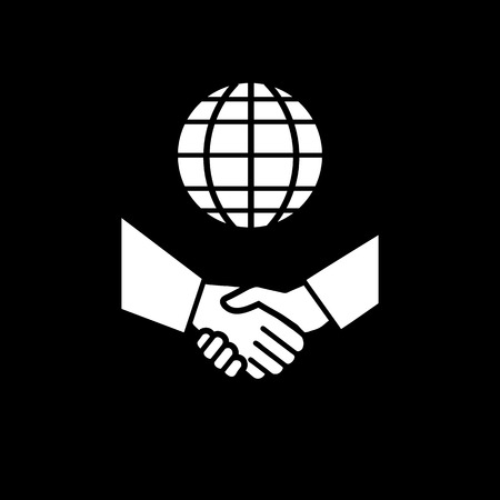 hand shake: vector international business icon with gloe and hand shake | flat design white pictogram on black background