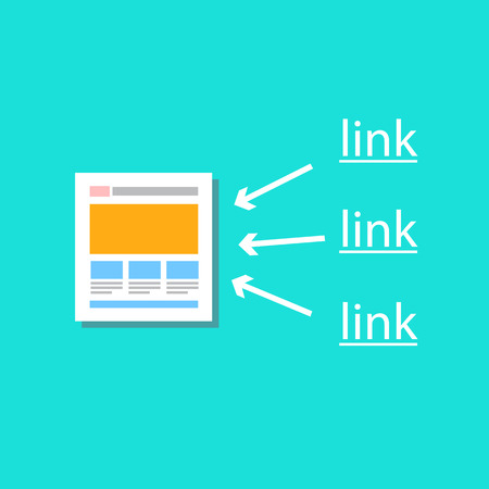 backlink: modern flat design vector illustration of link building icon, inforgaphic element template for webdesigners and seo specialist isolated on slylish green background