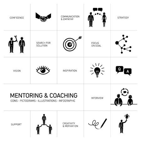 superacion personal: vector de mentores abstracto y de coaching iconos y pictogramas conjunto de habilidades y soluciones | infograf�as dise�o plano negro sobre fondo blanco Vectores