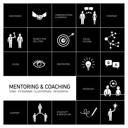 mentoring: vector abstract mentoring and coaching icons and pictograms set of skills and solutions | flat design infographics white on black background