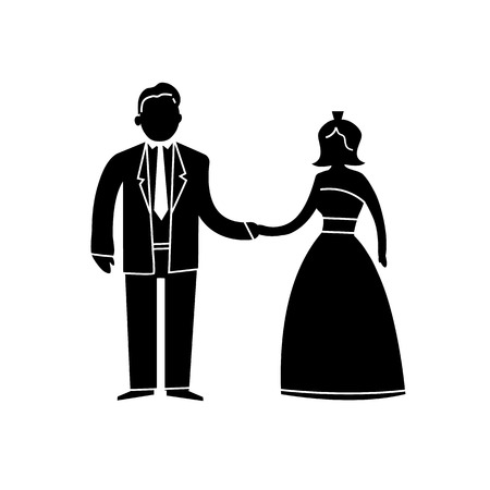 just married: vector abstract wedding icon of just married couple | flat design infographics pictogram on black on white background