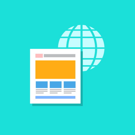 backlink: vector flat design icon of on page factors with globe and website for web design and seo search engine optimisation infographic pictogram isolated on green background Illustration