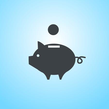 ベクトルの貯金箱のお金の銀行のアイコン |青色の背景にフラットなデザイン ピクトグラム