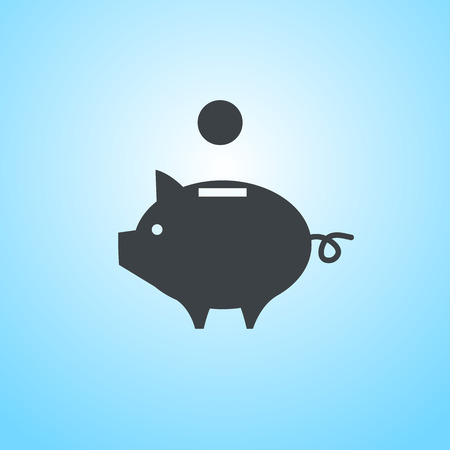 vector piggy money bank icon | flat design pictogram on blue background Vector