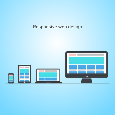 responsive web design on different devices   vector flat design infographic Vector