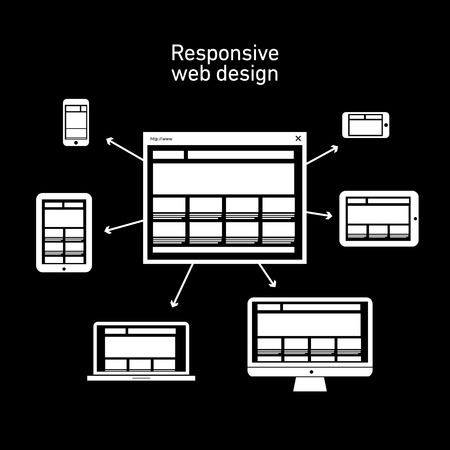 responsive web design scheme on different devices and platforms   vector flat design infographic white on black background Stock Vector - 27595620