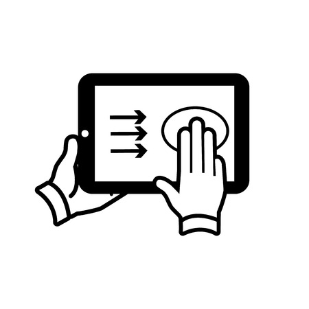 swipe: vector modern flat design tablet touch screen icon gesture swipe with three fingers black isolated on white background Illustration