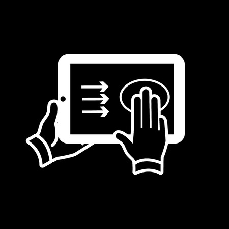 vector modern flat design tablet touch screen icon gesture swipe with three fingers white isolated on black background Vector