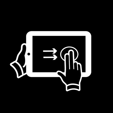 vector modern flat design tablet touch screen icon gesture swipe with two fingers white on black background Vector