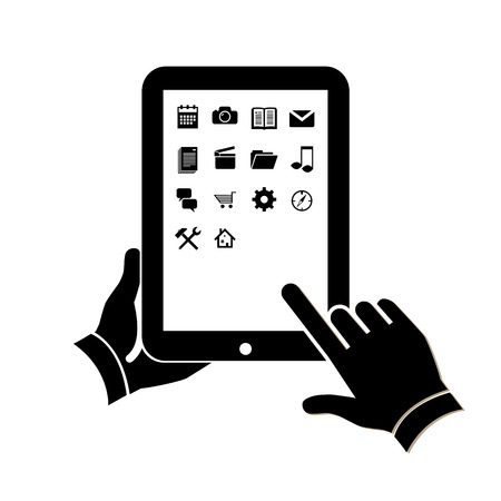 Flat design vector illustration of tablet using with one hand holding and touching icons on screen with finger. black infographic isolated on white background Ilustracja