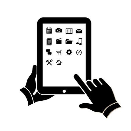 directorio telefonico: Ilustración vectorial Diseño plano de la tableta utilizando con una celebración de la mano y tocar los iconos en la pantalla con el dedo. infografía negro aislado en fondo blanco
