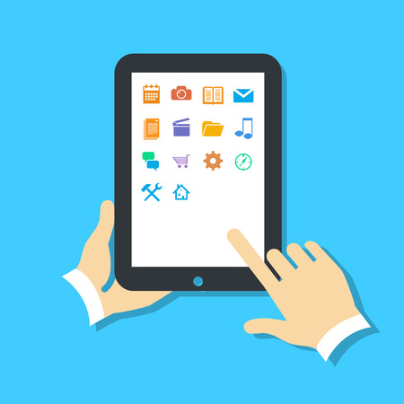 Flat design vector illustration of tablet using with one hand holding and touching icons on screen with finger. Infographic isolated on blue background Vector