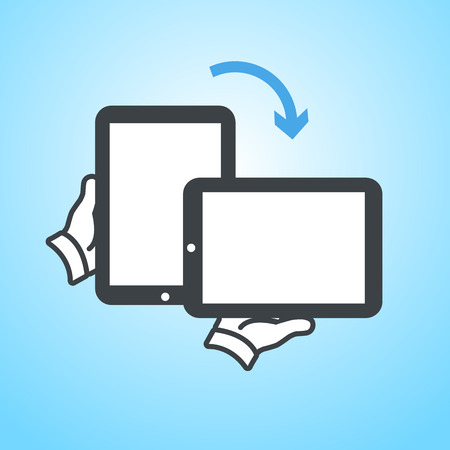 vector modern flat design tablet touch screen rotation icon wit hand holding device on blue background Vector