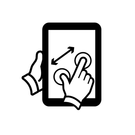 vector modern flat design tablet touch screen icon zoom out or in gesture pinch with two fingers black isolated on white background Illustration