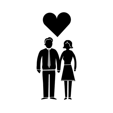 vector couple in love icon | iflat design infographics black on white background Vector