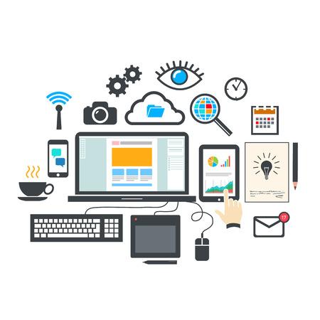 Vector platte ontwerp moderne illustratie pictogrammen instellen van webdesign en seo optimalisatie gereedschappen, webdesigner proces en infographic elementen geïsoleerd op een witte achtergrond achtergrond Stock Illustratie