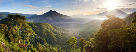 Batur volcano and Agung mountain panoramic view at sunrise from Kintamani, Bali, Indonesia