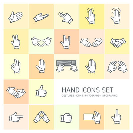 modern flat design vector hand icons and pictograms set isolated on colorful yellow and orange background Vector