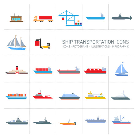 battleship: vector flat design ship and boats transportation icons set of colorful illustrations isolated o white background