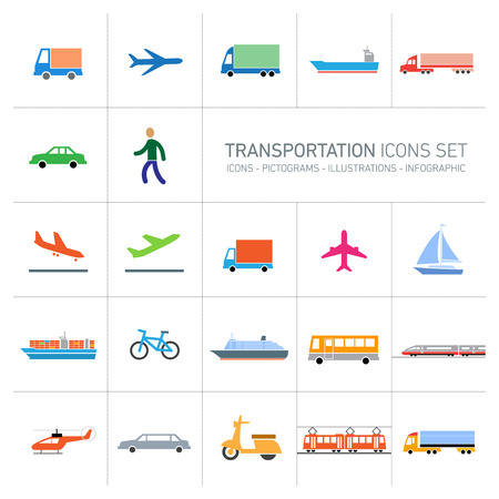 colofrful modern vector flat design transportation icons set and pictograms isolated on white background Vectores
