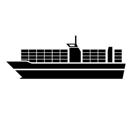 ベクトル フラット デザイン コンテナー船船輸送アイコン黒白い背景で隔離