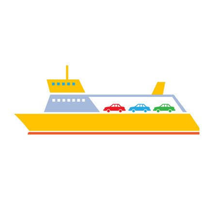ferries: vector flat design ferry ship transportation icon isolated on white background Illustration