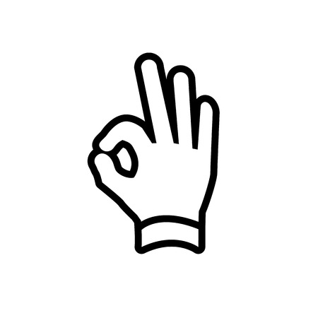 ok sign language: vector modern flat design hand ok fingers gesture icon black isolated on white background