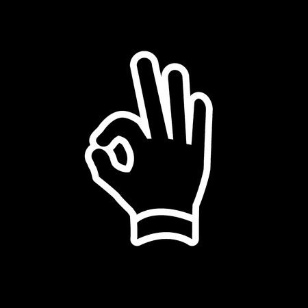 griping: vector modern flat design hand ok fingers gesture icon white isolated on black background