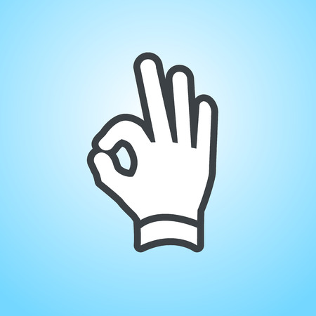 griping: vector modern flat design hand ok fingers gesture icon isolated on blue background