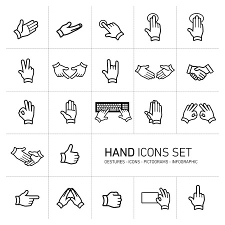 modern flat design vector hand icons and pictograms set black isolated on white background Vectores