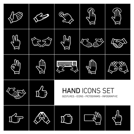 modern flat design vector hand icons and pictograms set white isolated on black background Ilustração